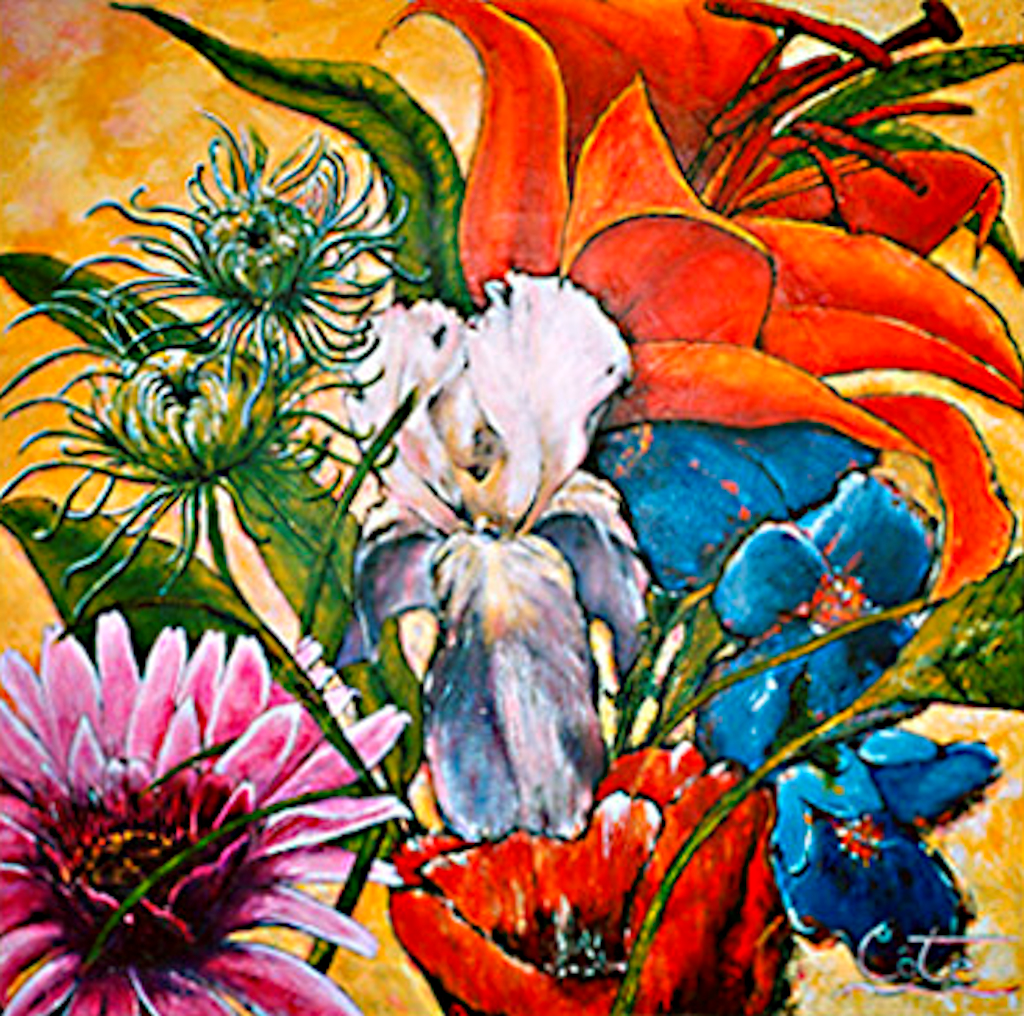 Toile : Un bouquet d'amour - Acrylique (Collection privée) - 2003